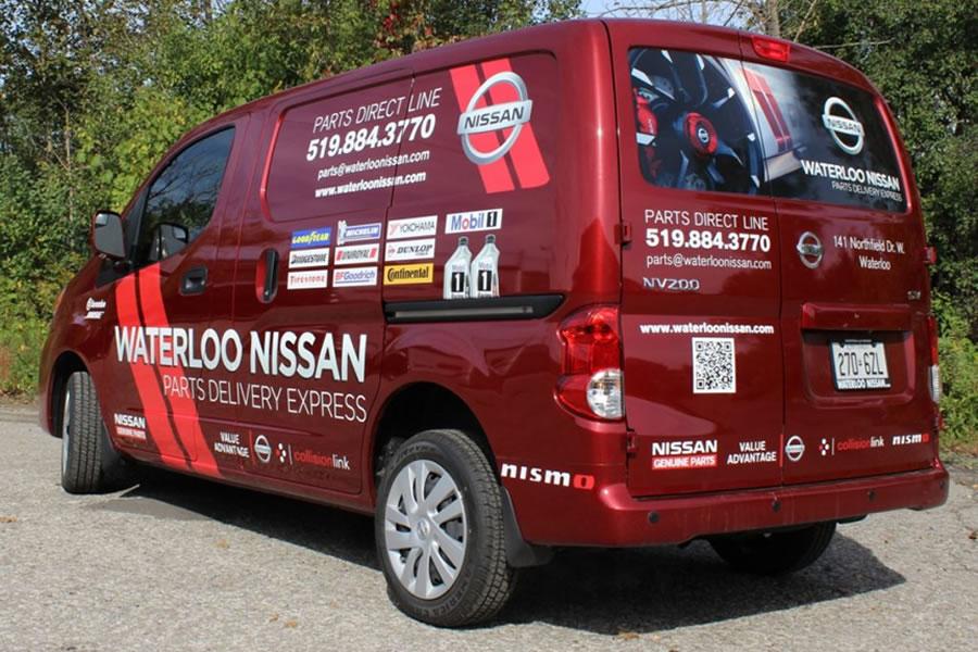 Waterloo Nissan vinyl graphics for advertising